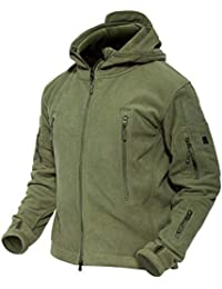 Men's Hooded Fleece Jacket Multi-Pockets Warm Military Tactical Jacket