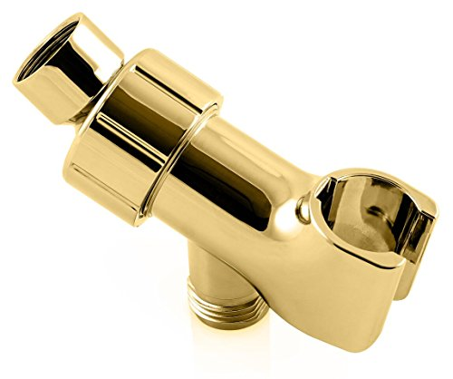 ShowerMaxx | Shower Head Holder in Brass Finish | Showerhead Mounts for Handheld Showerheads | Arm Bracket with Swivel Ball Connector | Adjustable Universal 1/2 in Male Female Shower Heads Wall Mount (Soportes Para Pared)