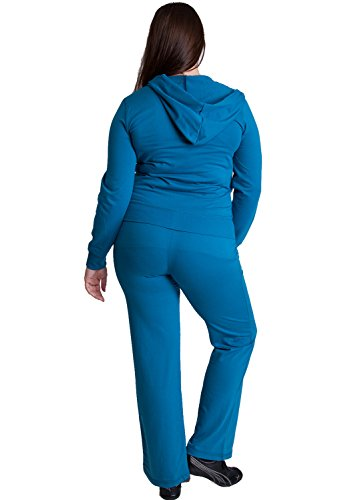 Woman Blue Plus Size Zip-up Hoodie & Drawstring Sweatpants Set