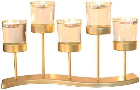 ローソク足 ヨーロッパの錬鉄製のガラス燭台ロマンチックなキャンドルライトディナー創造装飾燭台の結婚式 テーブル錬鉄製ローソク足 (Color : Gold, Size : 31x18cm)