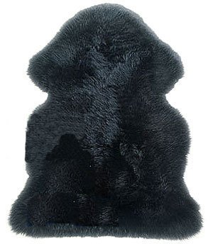 Gem Avenue New Genuine Sheepskin Fur Leather Pelt Rug Black Color