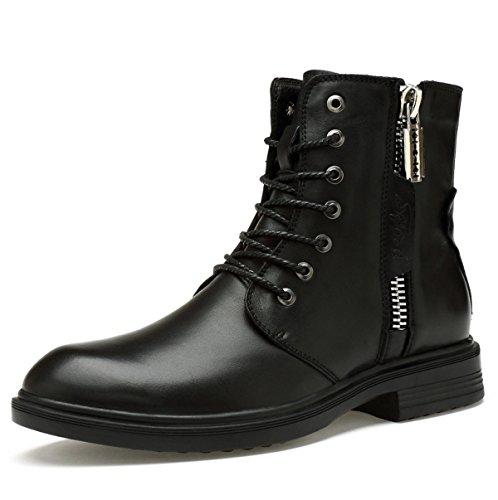 Herbst Und Winter England High Gang Herrenschuhe Herren Martin Stiefel Retro Stiefel Plus Samtstiefel Herrenstiefel Black2PlusCotton
