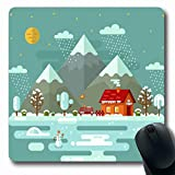 Ahawoso Mousepad Oblong 7.9x9.8 Inches Night Snow Flat Nature Winter Snowflakes Parks Cottage Village Alaska Alps Design Pond Office Computer Laptop Notebook Mouse Pad,Non-Slip Rubber