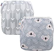 ALVABABY Swim Diapers Reuseable Washable Adjustable 0 to 36 mo.for Infants Toddlers 2 Pack One Size Swimming L