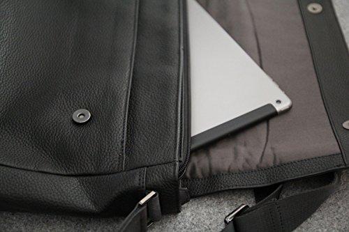 élégant bugatti messenger pour sac hommes véritable cuir noir besace messenger en Citta besace sac qTRqz