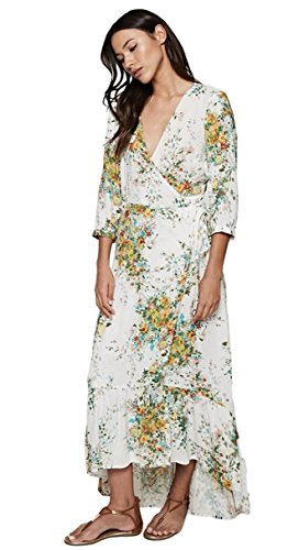 Love Stitch Women's Floral V-Neck Wrap Maxi Dress with 3/4 Sleeves and Ruffle Bottom Hi-Low Hem (Medium, Vanilla/Apple Multi) by Love Stitch (Image #2)