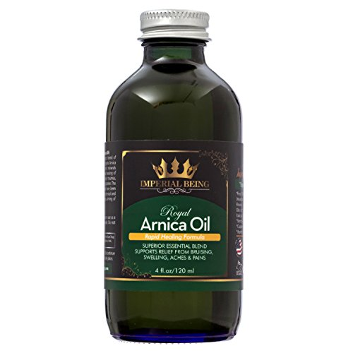 ROYAL ARNICA OIL - Rapid Healing Formula by IMPERIAL BEING - Super Premium Organic Herbal Blend with Essential Oils for Natural Pain Relief, Trauma, Bruise Care, Massage, Muscle Soreness & Aches (4oz)