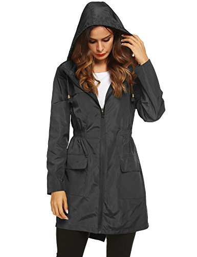 LOMON Women Waterproof Lightweight Rain Jacket Active Outdoor Hooded Raincoat (XXL, Black1)