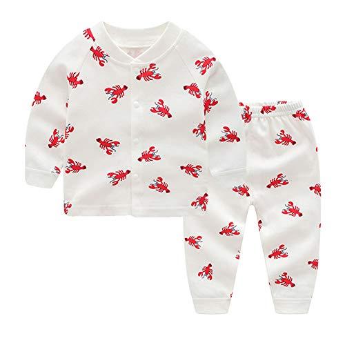 KukaVeela Pajamas Sets Boy Girl Sleepwear Kid Toddler Cotton Home wear Cartoon Printed (lobster9M) -