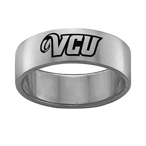 (Virginia Commonwealth VCU Rams Rings Stainless Steel 8MM Wide Ring Band - Single Logo Style (12))