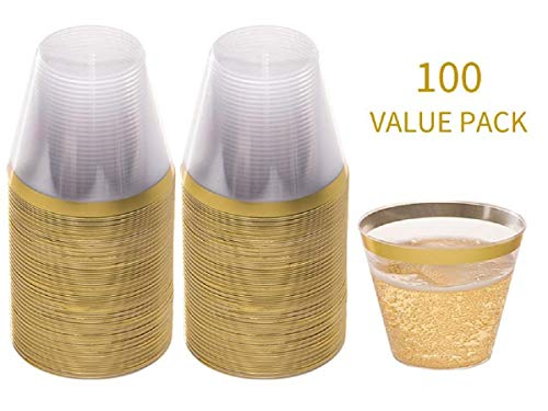 CoolZest 9 oz Gold Rim Clear Plastic Cups - 100 Disposable Plastic Wine Glasses for Parties, Weddings, Birthdays, Holiday, Snack Plastic Party Cups, Drinking Glasses, Wine Tumbler