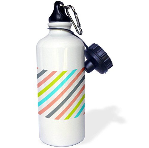 (3dRose Anne Marie Baugh - Stripes - Pink, Green, Aqua, Gray Diagonal Stripes Pattern - 21 oz Sports Water Bottle (wb_266636_1))