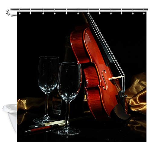 Musical Instrument Decor Shower Curtain, Violin and Glass Goblet Music Theme Bathroom Curtain Decor Machine Washable Shower Curtains Accessories with Hooks 69X70 Inches, Black