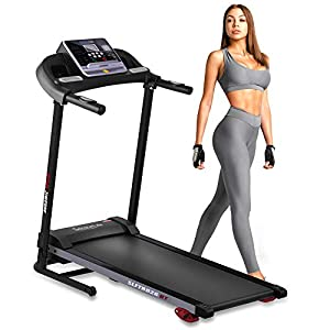 Folding Treadmill Exercise Running Machine – Electric Motorized Running Exercise Equipment w/ 12 Pre-Set Program, Manual Incline, Bluetooth Music/App Support – Home Gym/Office – SereneLife SLFTRD26BT