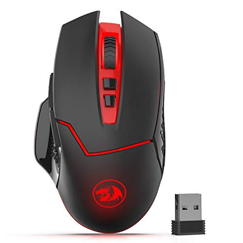 - Redargon M690-1 Wireless Gaming Mouse with DPI Shifting, 2 Side Buttons, 2400 DPI, Ergonomic Design, 7 Buttons-Black