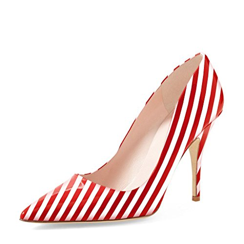 - YDN Women Classic Pointy Toe Low Heel Pumps Slip on Black and White Stripe Shoes 8 (Red Stripe)