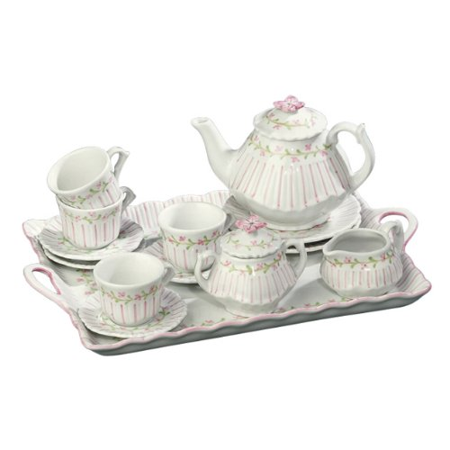 Andrea by Sadek 13.5'' L Child Tea Set with Tray Pinstripe