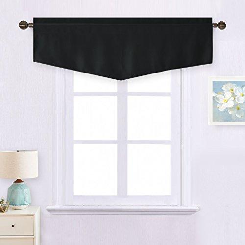 Blackout Valance Curtain for Decoration - Home Decoration W52 x L18 Ascot Rod Pocket Drape for Boy's Room (Black, 1-Pack)