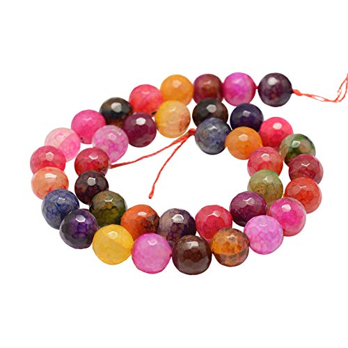 "PH PandaHall 5 Strands 10mm Natural Dragon Veins Fire Agate Gemstone Faceted Round Loose Stone Beads for Jewelry Making 14"", Multicolor (190pcs)"
