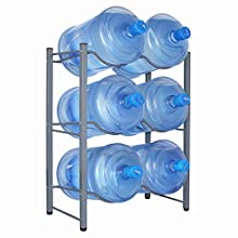 Ationgle Water Bottle Holder for 6 Bottles, 3-Tier Water Cooler Jug Rack, Upgraded Heavy Duty Carbon Steel Water Jug Organizer with Adjustable Floor Protection for Home, Kitchen, Office, Restaurant
