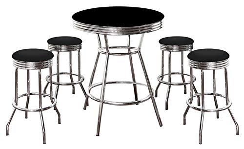 5 Piece Retro Black Bistro Table & Pub Set With 4 Barstools