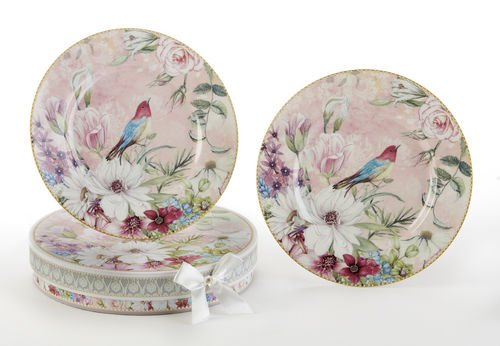 Delton Daisy Floral Bird Vintage 8 Inch Porcelain Plates Decorative Gift Boxed Set of 2 Multicolored