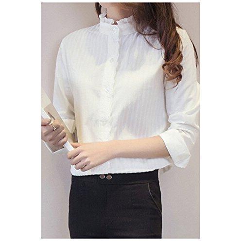 - KAKA(TM Girl Women Spring Autumn Long Sleeve Blouses Flower Collar White Shirt L