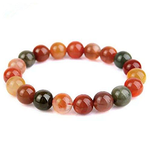 - LiZiFang Genuine Natural Rutilated Quartz Crystal Round Bead Stretch Bracelet 11mm
