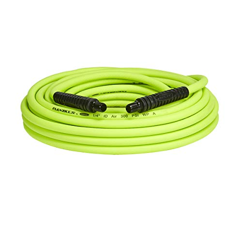 (Flexzilla Air Hose, 1/4 in. x 50 ft, 1/4 in. MNPT Fittings, Heavy Duty, Lightweight, Hybrid, ZillaGreen - HFZ1450YW2)