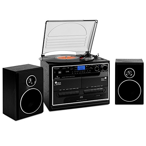 Auna 388-BT HiFi CD Stereo System LP Turntable Daul Cassette Deck Bluetooth USB MP3 SD Radio (2 Speakers, Easy Operation via Remote Control and Built-In Controls, Compact Design) Black