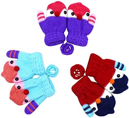 Kids Winter Warm Gloves Baby Toddler Boys Girls Soft Solid Knitting Mittens USA