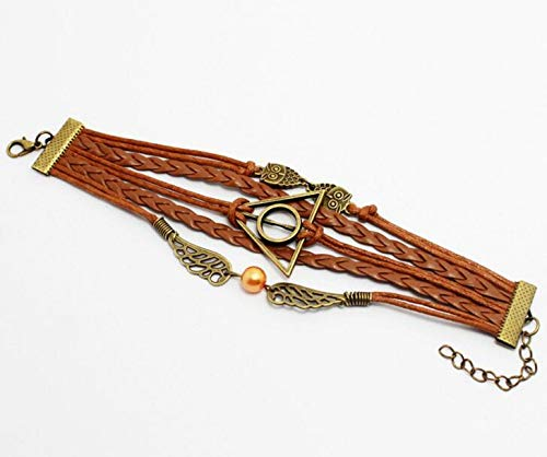 Peace River Designs Vintage Bracelet Golden Snitch Deathly Hallows Owls Brown Leather Braid Rope Bangle Gift Bracelet