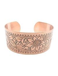 Women's 7 Inch Copper Cuff Bracelet CB651C2- 3/4 of an inch wide