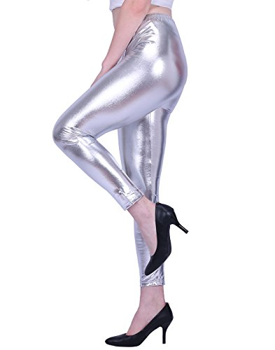 HDE Womens Shiny Leggings Metallic Clubwear Stretch Liquid Wet Look Skinny Pants (Silver, Medium) ()