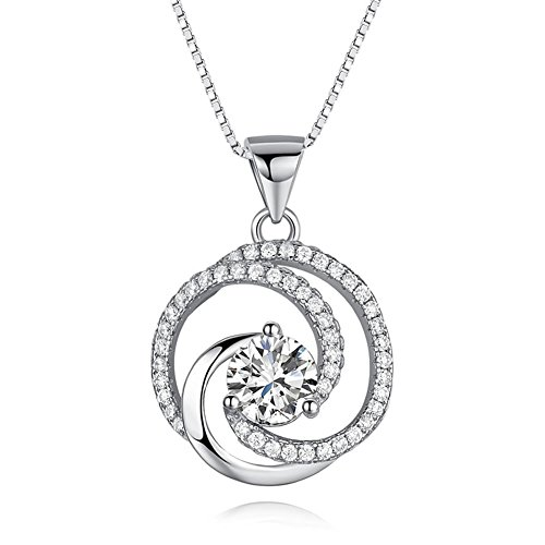 Wonvin 925 Silver Plated Cubic Zirconia Swirl Shaped Pendant Necklace for Women (Swirl Plated Silver)