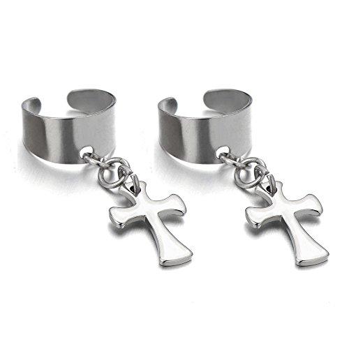 Steel Non piercing Earrings Dangling Cross