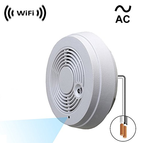 Cheap WF-402VAC Spy Camera with WiFi Digital IP Signal, Recording & Remote Internet Access, Camera Hidden in a Fake Smoke Detector (Direct 110V ~ 220VAC Line Model).