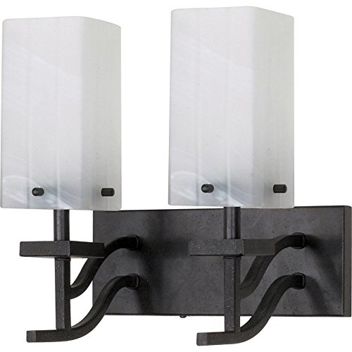 Nuvo Cubica 2 Light 13`` Vanity w/ Alabaster Swirl Glass - 60-005 ;supply_from:shop_freely