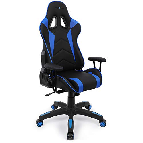 Fenix Mini Gaming/Racing Chair, Ergonomic Adjustable Skin-Friendly Vinyl Kid's/Children Chair Special Design as Mom-Hugging, Blue