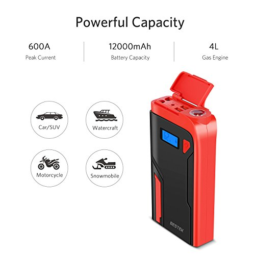 Car Jump Starter, BESTEK 400A 12000mAh 12V Portable Auto Battery Booster Pack, Power Bank with Dual USB Ports LED Light LCD Screen by BESTEK (Image #1)