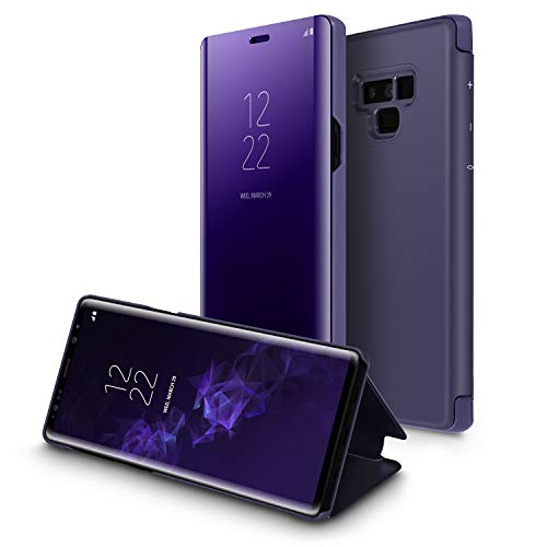 Galaxy Note 9 Case,WATACH Smart Clear View Makeup Mirror Electroplate Plating Kickstand Feature Full Body Protective Flip Folio Cover for Galaxy Note 9 (Purple) ()