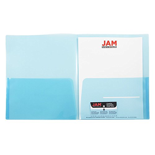 (JAM PAPER Plastic Light Weight Two Pocket Presentation Folders - Blue - 6/Pack)
