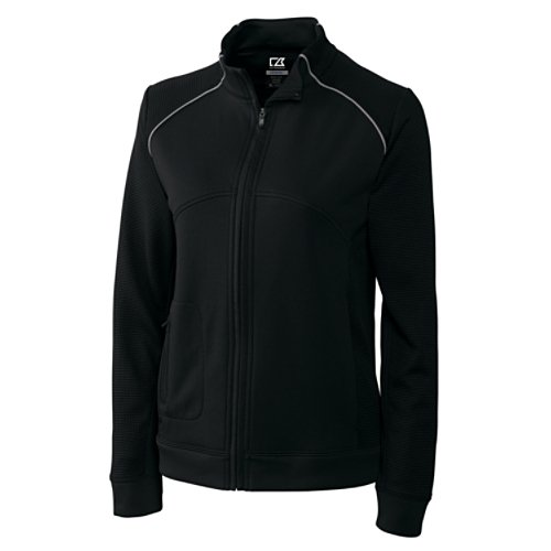 Cutter & Buck Women's Drytec Edge Full Zip Jacket, Black, X-Large