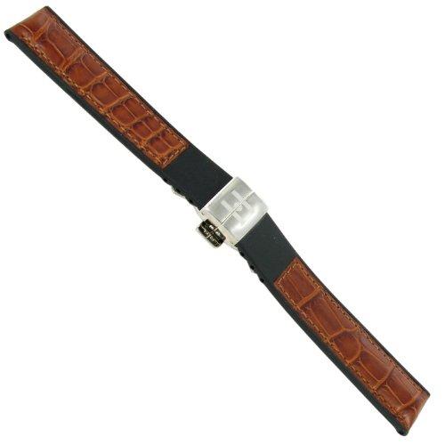 18mm Hirsch Amazon Corvette Buckle Tan Alligator Grain Genuine Leather Watchband (Tan Alligator Grain)