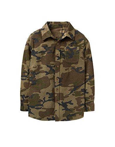 Sleeve Long Kids Flannel (Crazy 8 Little Boys' Long Sleeve Flannel Shirt Jacket, Camo, M)