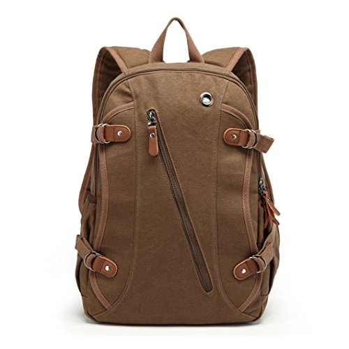 MOORE CARDEN Men's 15 Inch leather Casual Laptop/Macbook/Tablet/Notebook Computer Messenger Backpack School College Travel Rucksack Bag(Coffee)