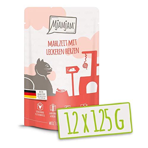MjAMjAM – Premium Nassfutter für Katzen – Quetschie – Mahlzeit mit leckeren Herzen, 12er Pack (12 x 125 g), getreidefrei…