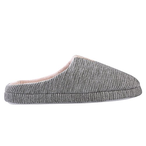 Aerusi Unisex Stripe Peluche Memory Foam Slip On House Pantofola Da Camera Grigio / Blush