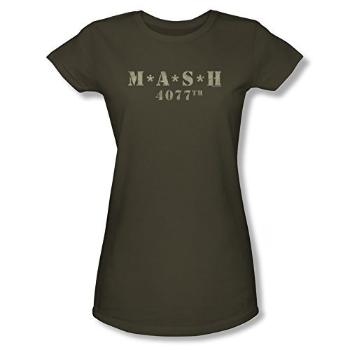 Distressed TV Show Logo — MASH Crop Sleeve Fitted Juniors T-Shirt