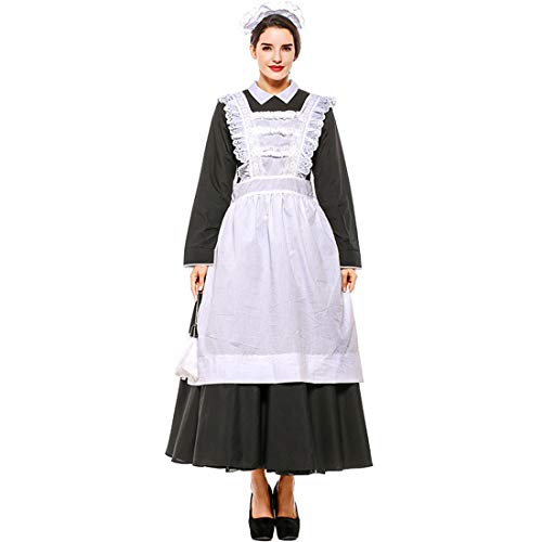 ze Pilgrim Dress Victorian Maid Costume Colonial Cosplay with Apron Black ()